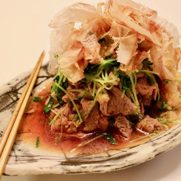【レシピ】豆苗と和牛のオリーブオイル掛け